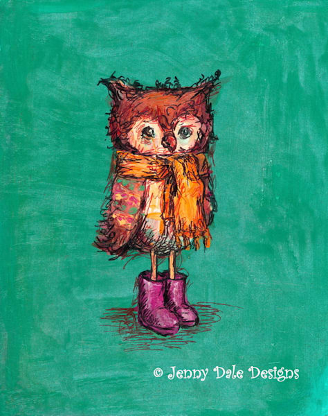 Owl in Pink Boots