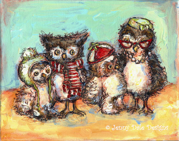 Owl Family Portrait Art | Jenny Dale Designs