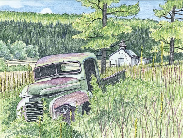 Green Truck And White Chapel, Angel Fire, New Mexico Art | Fine Art New Mexico