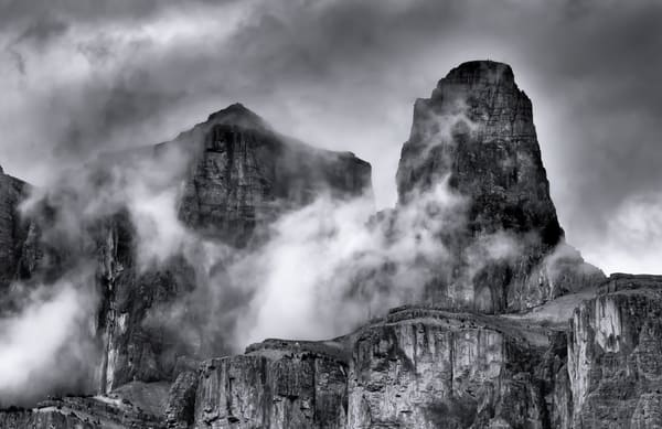 Castle Mountain's Tower in clouds.Banff National Park|Canadian Rockies|Rocky Mountains|