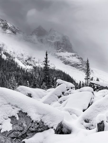 Plain of Six Glaciers approach in winter.Canadian Rockies Banff National Park Rocky Mountains 