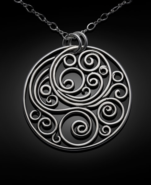 """Wind Of The Spirit"" Swirl Medallion Silver Pendant by Susan Bevis 
