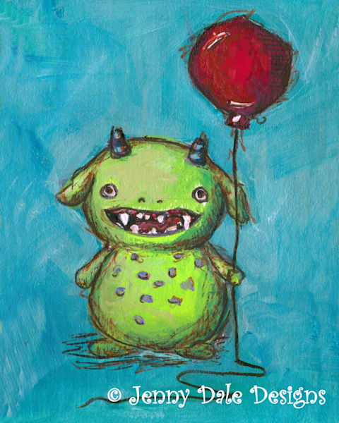 Spotted Belly Green Monster with Red Balloon