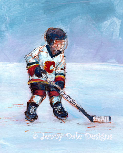 Child Playing Hockey  Calgary Flames Art | Jenny Dale Designs