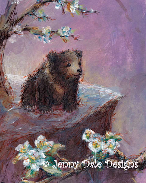 Bear Cub and Pear Blossoms Image of Hope art print