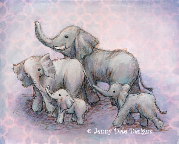 Happy Elephant Family- Pink Background