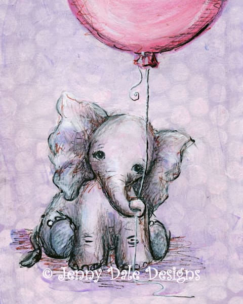 Baby Elephant's Pink Balloon Art | Jenny Dale Designs