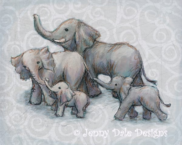 Happy Elephant Family- Grey Background