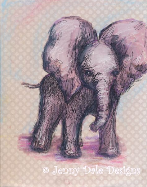 Sweet Baby Elephant: Flapping Ears, Pink and Purple
