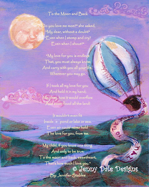 Hot Air Balloon- I Love you to the Moon and Back: Purple sky