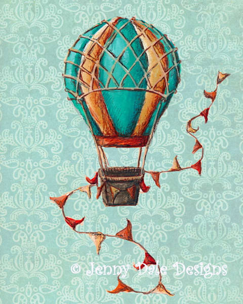 Striped Hot Air Balloon- Mint Background