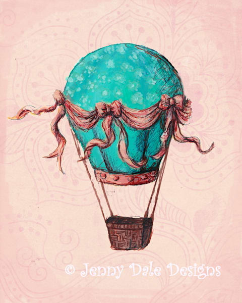 Turquoise and Pink Hot Air Balloon