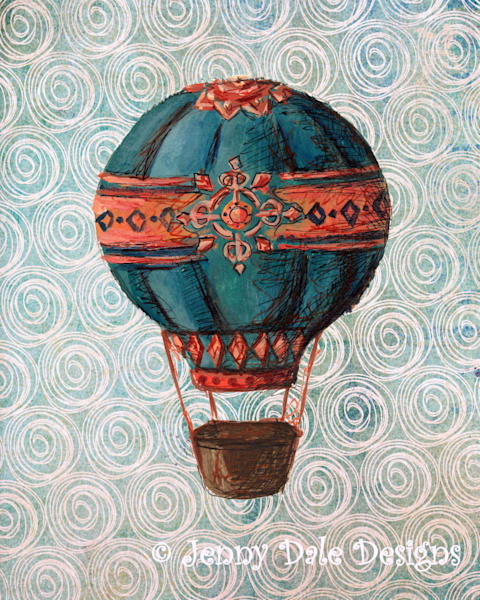 Vintage Hot Air Balloon: Navy and Coral