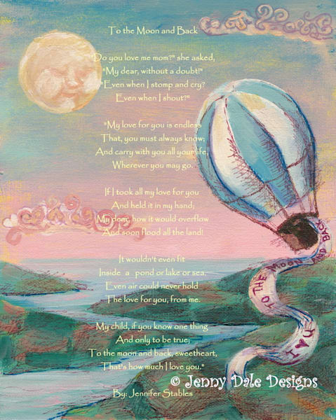 Hot Air Balloon- I Love you to the Moon and Back: Pink sky