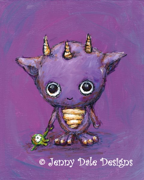 Three Horned Purple Monster Art | Jenny Dale Designs
