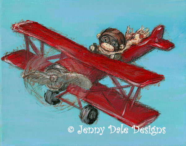 Sock Monkey's Airplane Ride Art | Jenny Dale Designs