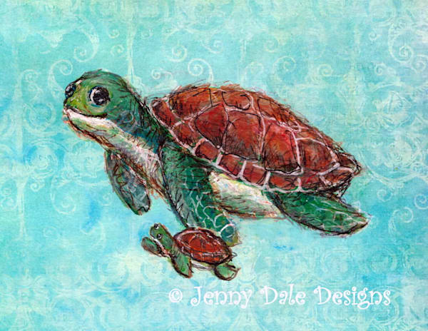 Swimming With Mom: Sea Turtle And Baby Art | Jenny Dale Designs
