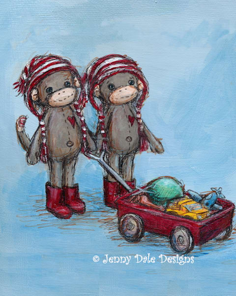 Twin Sock Monkeys Pulling Wagon
