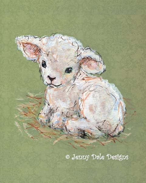 Little Lamb: Seated Side View Art | Jenny Dale Designs