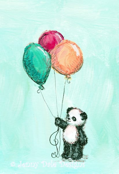 Panda's Balloons- Mint Background