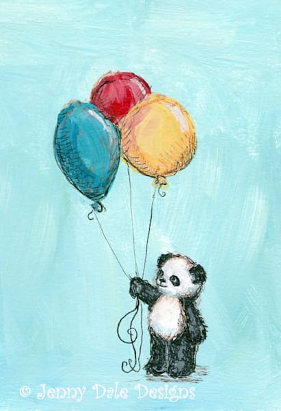 Panda's Balloons- Blue Background
