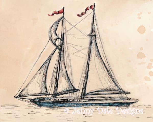 Vintage Sailboat Sketch Art | Jenny Dale Designs