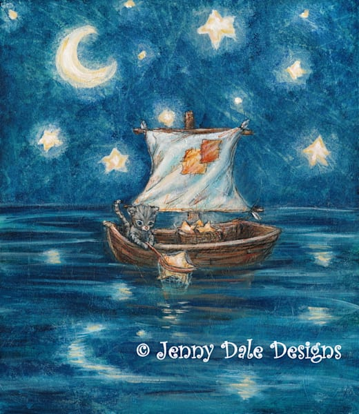 Henry Caught A Star: Cat Fishing For Stars Art | Jenny Dale Designs