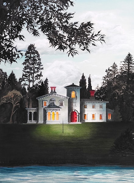 Italian Country House Detail From Night Bridge Art | Melissa A Benson Illustration