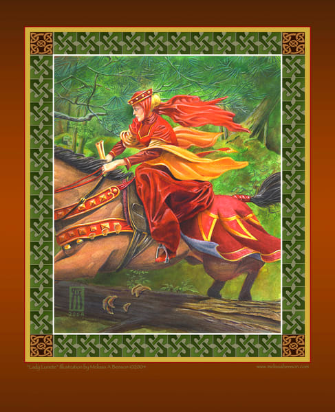 Lady Lunete role playing game print with digital Celtic border