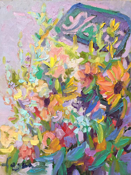 Colorful French Flower Market, Fleurs at Market, Original Oil Painting by Dorothy Fagan