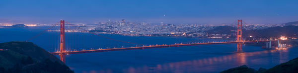 Golden Gate Bridge Twilight Pano, San Francisco, California
