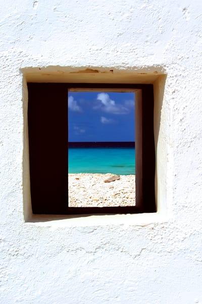 Photograph of Caribbean through white hut
