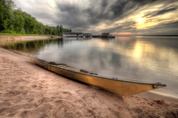 Beautiful fine art photography print of Kayak along Lake Superior