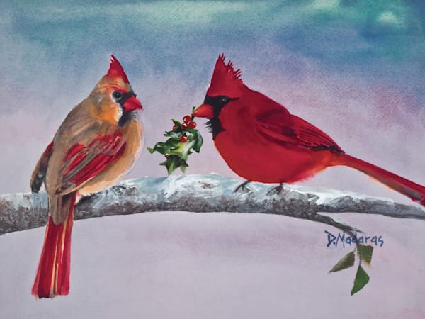 Mr. Cardinal's Gift Holiday Card | Southwest Art Gallery Tucson