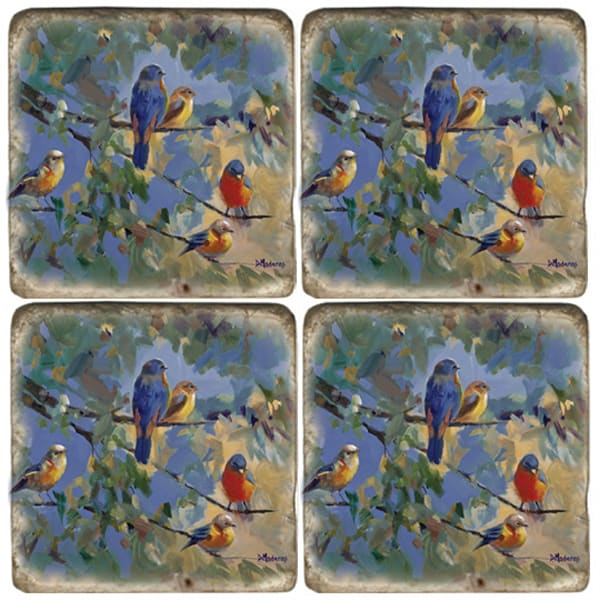 Five Birds set of 4 Coasters | Madaras
