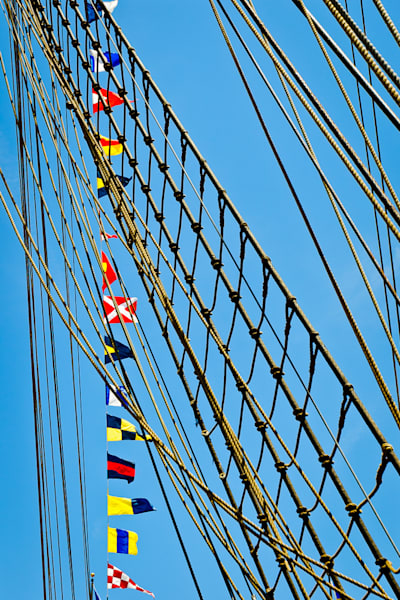 Flags Flying With Rope Ladder