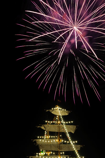 Fireworks Over Tall Ship