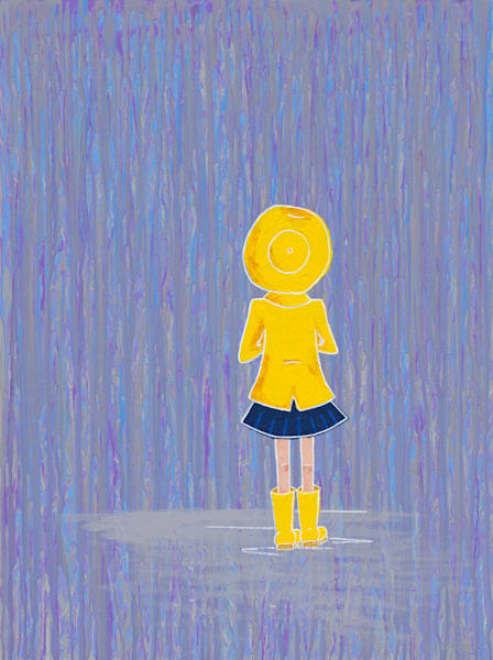 A litte girl in a raincoat