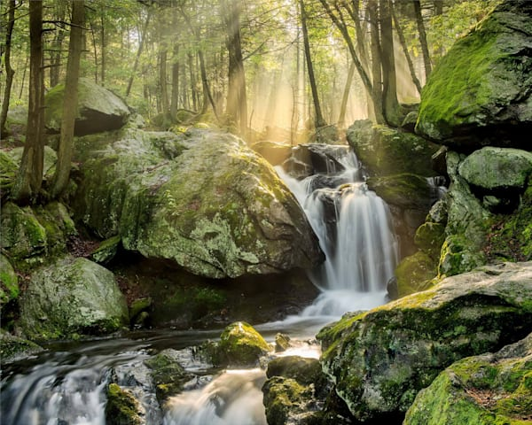 Peter Wnek photographed the sun breaks through the early morning fog at Buttermilk Falls in Connecticut.