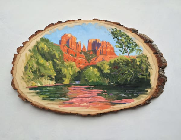 Cathedral Rock on Rustic Wood Panel