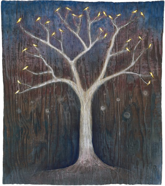 White Tree Yellow Birds Art for Sale