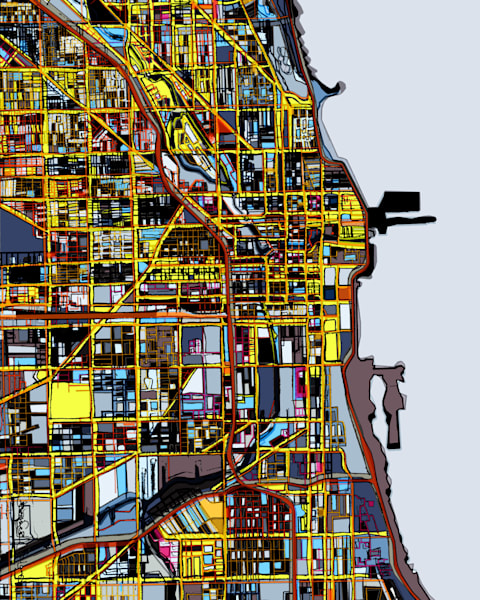 Chicago art, city Map For Sale. Modern Map Art – Abstract City Map of CHICAGO IL. City Neighborhood | City Travel Print | Neighborhood Print | Modern City Map