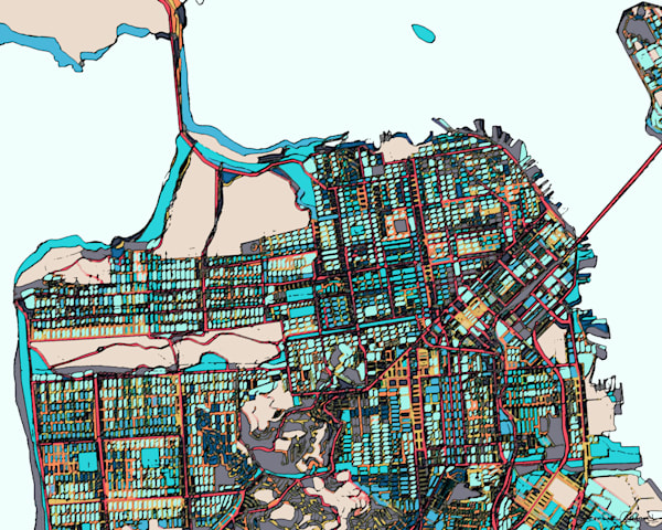 San Francisco CA Art For Sale- Map Print of City. Abstract Office Art – Colorful Map of SAN FRANCISCO CA. Abstract Map Print | Abstract City Print | Modern California Map | City Travel Print