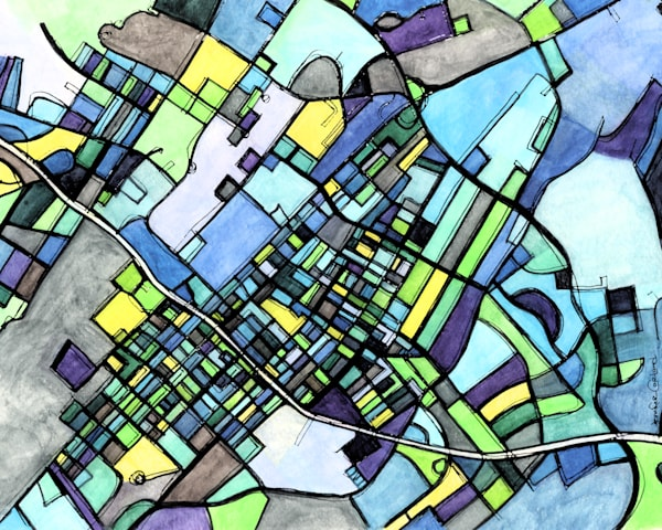 State College Art For Sale- Get A Map Print of Penn State. Abstract Map Print – Modern Map Art of STATE COLLEGE PA. City Travel Print | Penn State Print | Modern City Map | Dorm Art