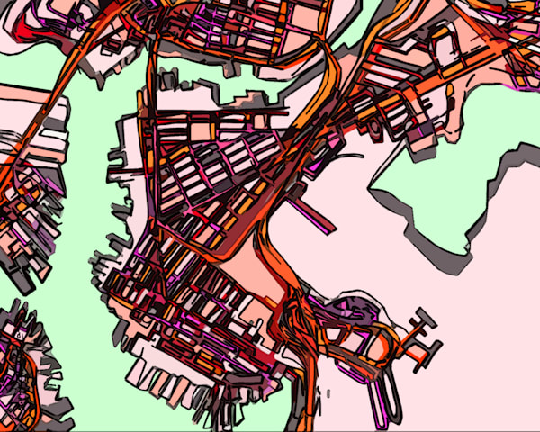 Purchase Abstract Map Art of East Boston - City Neighborhood Print – Modern City Print of EAST BOSTON MA. Abstract Map Print | Neighborhood Map | City Travel Print | Modern Map Art