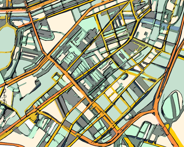 Contemporary Map Art of Boston South End For Sale. Abstract Map Print – Modern Map Art of BOSTON SOUTH END. Gift Ideas | Boston Map | Modern Wall Art | Abstract City Print | Wall Art Print