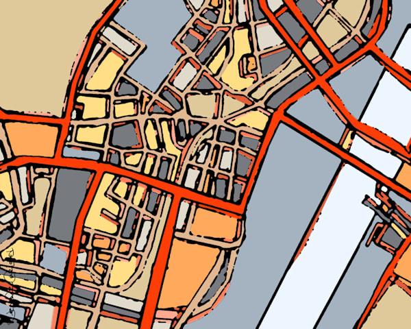 Modern Art Print of Boston Chinatown Map Buy Online- Abstract Office Art – Neighborhood Map of BOSTON CHINATOWN. Abstract Map Print | Abstract City Print | Modern City Map | City Travel Print