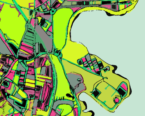 Dorchester Art Print For Sale - Modern Map Art – Abstract City Print of DORCHESTER MA. City Neighborhood | City Travel Print | Neighborhood Print | Modern City Map