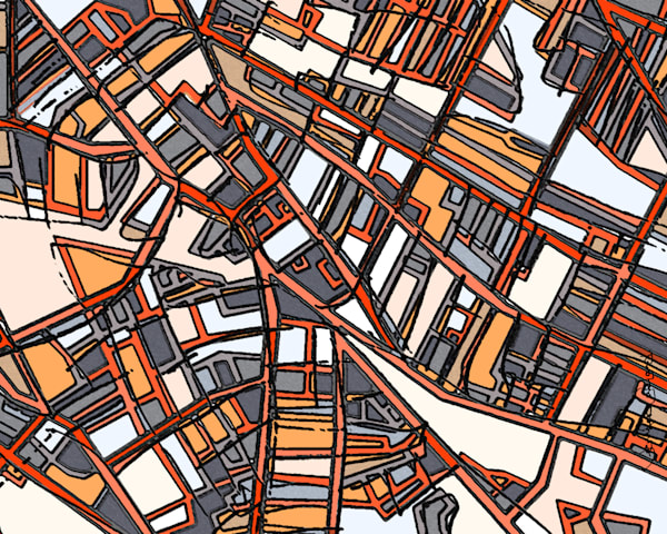 Contemporary Abstract Art For Sale of Porter Square. Abstract Map Print – Modern Map Art of PORTER SQUARE. Gift Ideas | Neighborhood Print | Modern Wall Art | Abstract City Print | Home Decor