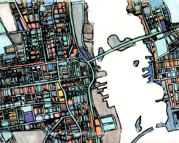 Modern Map Art – Abstract City Print of NEW BEDFORD MA. City Neighborhood | City Travel Print | Neighborhood Print | Modern City Map